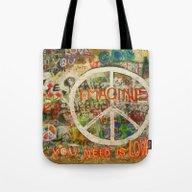 Peace Sign - Love - Graf… Tote Bag