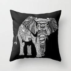 Elephant of Namibia (black & white) Throw Pillow