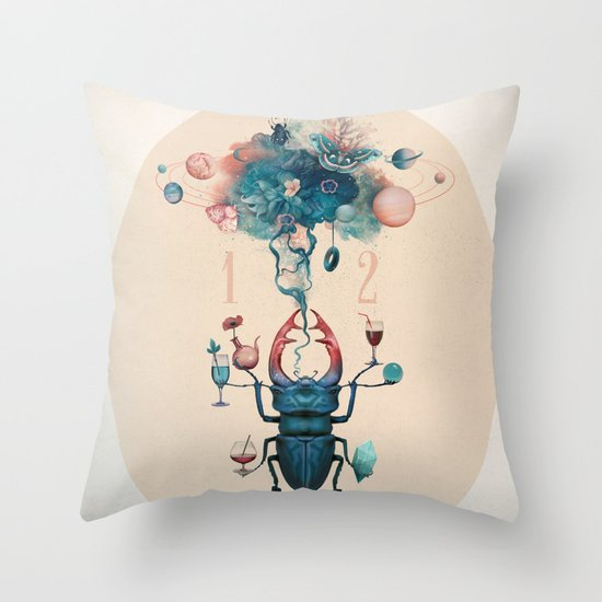 funny beetle Throw Pillow