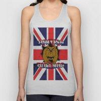 British Bulldog Union Jack Cartoon With Grunge overlay Unisex Tank Top