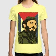 Y En Eso Llego Fidel Womens Fitted Tee Lemon SMALL