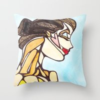 Woman in Blue Throw Pillow
