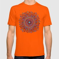 Indigo Flowered Mandala Mens Fitted Tee Orange SMALL