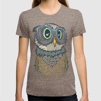 Owl wearing glasses Womens Fitted Tee Tri-Coffee SMALL