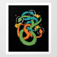 Space Snakes Love Pizzss… Art Print