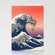 Stationery Cards featuring The Great Wave Of Pug   by Huebucket