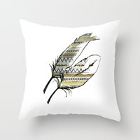 Tribal Feather Sunshine Throw Pillow