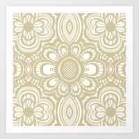 Lace Floral Sand On Ivor… Art Print