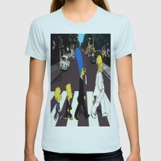 bea(tles)mpson Womens Fitted Tee Light Blue SMALL