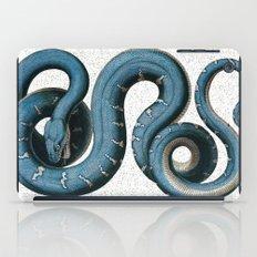 Blue White Vintage Snake Illustration Animal Art iPad Case