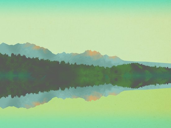 Lake Morning - Green Art Print