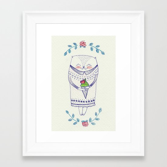 icy cat Framed Art Print