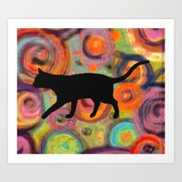 Psychedelic Cat 2 Art Print