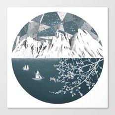 Mountain print , Navy Blue poster , mid century Modern art , travel poster Canvas Print
