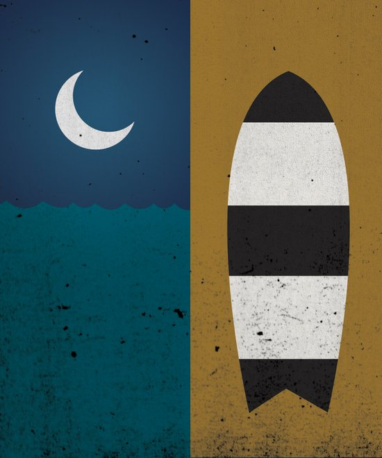 Board & Moon Art Print