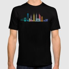 New York Skyline Black Mens Fitted Tee Black SMALL