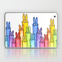 Bunny Rainbow Watercolor Pattern Laptop & iPad Skin