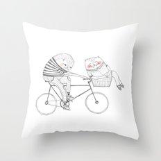 bicycle cat Throw Pillow