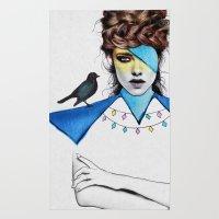 Blue Girl & Black Bird Rug