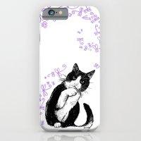 Tuxedo cat and dragonflies iPhone 6 Slim Case