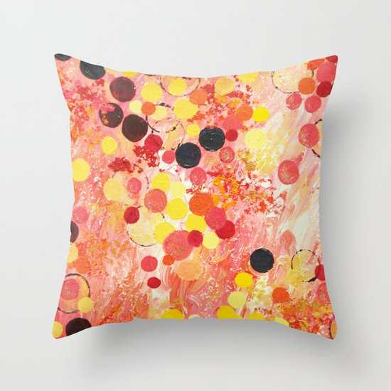 PERSONAL BUBBLE - Hot Pink Bubblegum Pop Fun Whimsical Circles Abstract Acrylic Painting Gift Throw Pillow