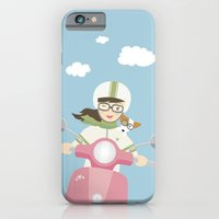 iPhone & iPod Case featuring Scooter Girl with Dog Illustration by Li Kim Goh