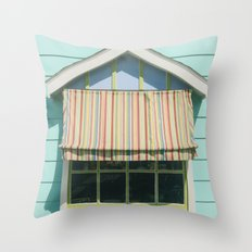 Summer cottage stripped canvas awning Throw Pillow