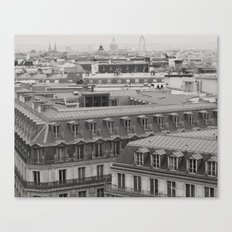 Paris, inspiring rooftops (black and white) Canvas Print