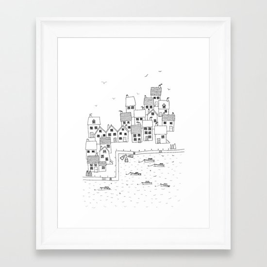 Harbour sketch Framed Art Print