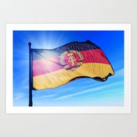 East Germany flag (1949 to 1990) waving on the wind Art Print