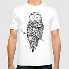 Poetic Snow Owl Mens Fitted Tee White SMALL
