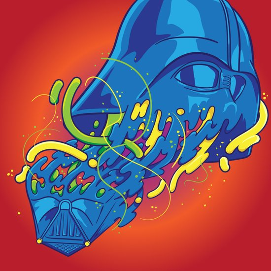 Happily melting Darth Vader Art Print