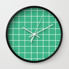 Grid (White/Mint) Wall Clock