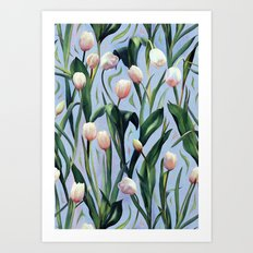 Waiting on the Blooming - a Tulip Pattern Art Print