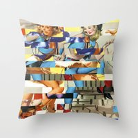 Glitch Pin-Up Redux: Yasmin & Yardley Throw Pillow