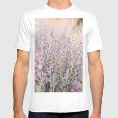 Purple flowers White Mens Fitted Tee SMALL