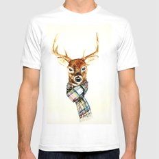 Deer Buck With Winter Sc… Mens Fitted Tee White SMALL