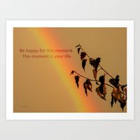 Rainbow and copper leaves Art Print