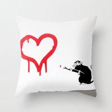 Banksy Rat Love Black&Wh… Throw Pillow