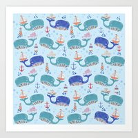 whales in a Row Art Print