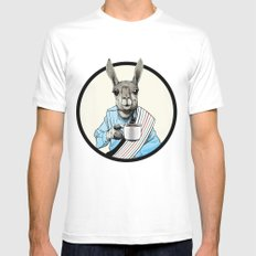 Java Llama Mens Fitted Tee White SMALL
