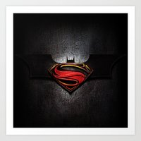 superman Art Prints featuring Superman by neutrone