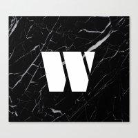 Black Marble - Alphabet W Canvas Print