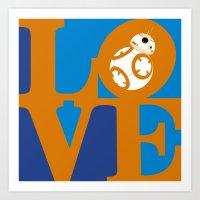 Robot LOVE - Orange Art Print