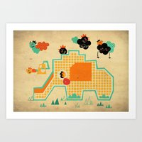 Elephant Playground Art Print
