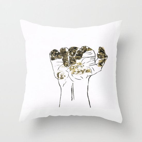 Golden hand Throw Pillow