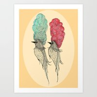 Bouffant Birds Art Print