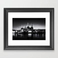 Battersea Power Station in monochrome Framed Art Print