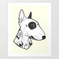 Bull Terrier dog Tattooed Art Print