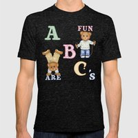 Teddy Bear Alphabet ABC's Mens Fitted Tee Tri-Black SMALL